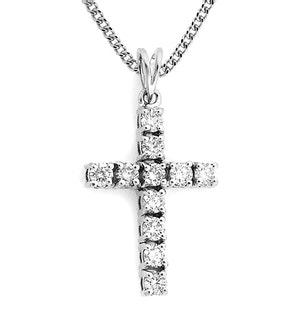 9K White Gold Diamond Value Cross Pendant 1.00