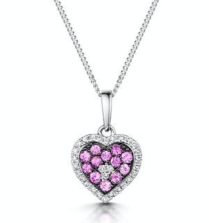 Pink Sapphire Diamond Stellato Heart Pendant Necklace 9K White Gold