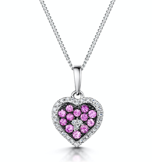 Pink Sapphire Diamond Stellato Heart Pendant Necklace 9K White Gold - image 1