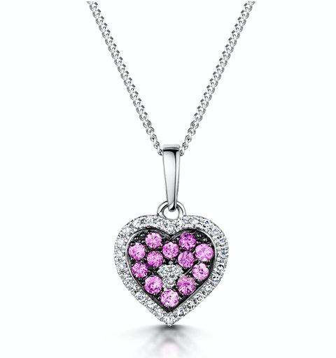 Pink Sapphire Diamond Stellato Heart Pendant in 9K White Gold - image 1