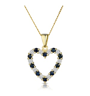 Sapphire And 0.03CT Diamond Heart Pendant Necklace 9K Yellow Gold