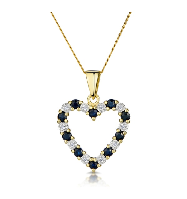 Sapphire And 0.03CT Diamond Heart Pendant Necklace 9K Yellow Gold - image 1
