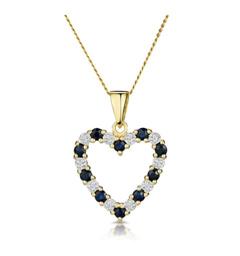 Sapphire And 0.03CT Diamond Pendant 9K Yellow Gold - image 1