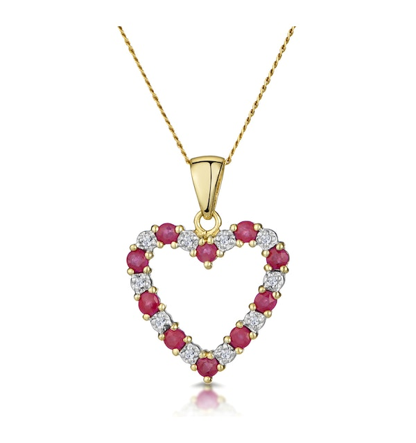 Ruby 0.68CT And Diamond 9K Yellow Gold Pendant - image 1