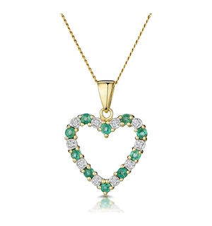 Emerald 0.54CT And Diamond 9K Yellow Gold Heart Pendant Necklace