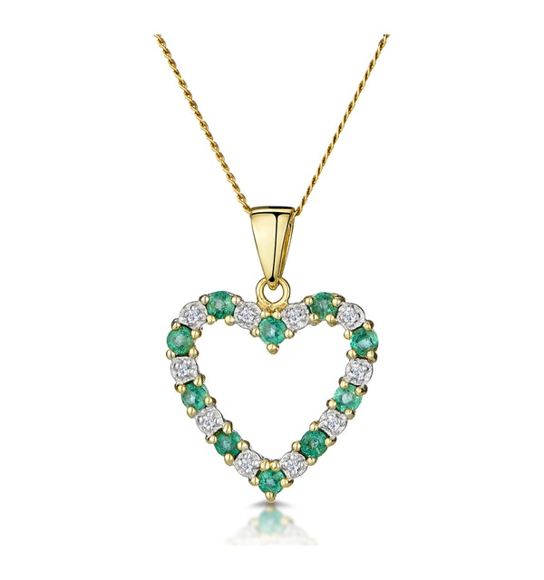 Emerald 0.54CT And Diamond 9K Yellow Gold Heart Pendant Necklace - image 1