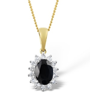 Sapphire 7 x 5mm And Diamond 18K Yellow Gold Pendant Necklace