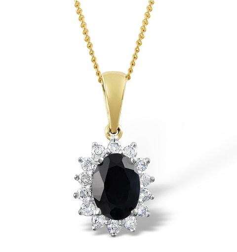 Sapphire 7 x 5mm And Diamond 18K Yellow Gold Pendant - image 1