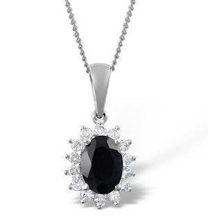 Sapphire 7 x 5mm And Diamond 18K White Gold Pendant FER27-UY