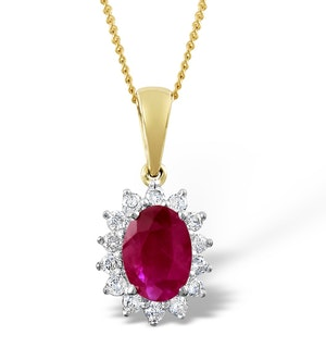 Ruby 7 x 5mm And Diamond 18K Yellow Gold Pendant Necklace