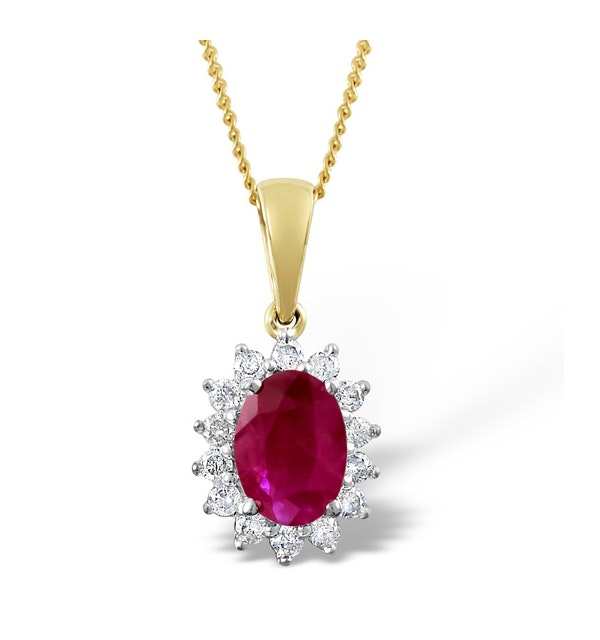Ruby 7 x 5mm And Diamond 18K Yellow Gold Pendant Necklace - image 1