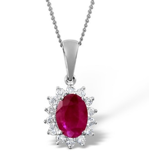 Ruby 7 x 5mm And Diamond 18K White Gold Pendant Necklace FER27-TY