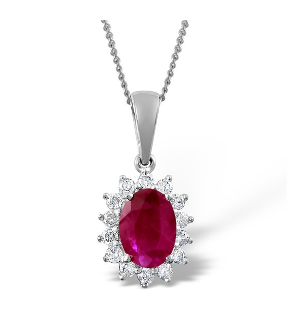 Ruby 7 x 5mm And Diamond 18K White Gold Pendant Necklace FER27-TY - image 1