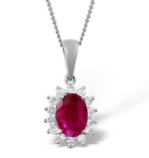 Ruby 7 x 5mm And Diamond 9K White Gold Pendant Necklace B3614