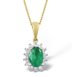 Emerald 7 x 5mm And Diamond 9K Gold Pendant