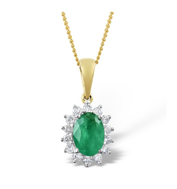 Emerald 0.80CT And Diamond 18K Yellow Gold Pendant Necklace - image 1