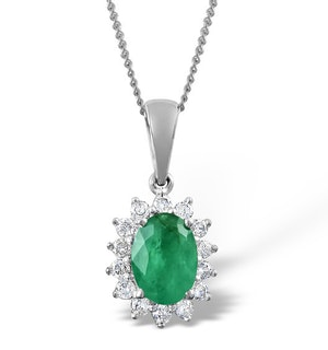 Emerald 0.80CT And Diamond 18K White Gold Pendant Necklace