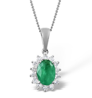 Emerald 7 x 5mm And Diamond 9K White Gold Pendant Necklace