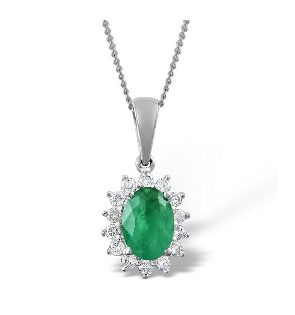 Emerald 7 x 5mm And Diamond 9K White Gold Pendant Necklace - image 1