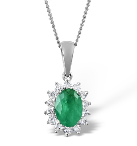 Emerald 7 x 5mm And Diamond 9K White Gold Pendant - image 1