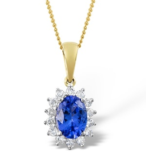 Tanzanite 7 x 5mm And Diamond 18K Yellow Gold Pendant Necklace