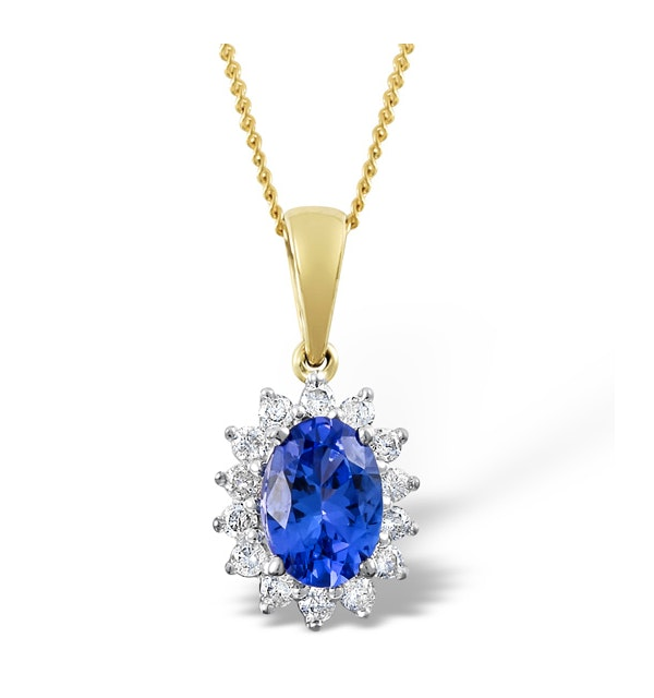 Tanzanite 7 x 5mm And Diamond 18K Yellow Gold Pendant Necklace - image 1