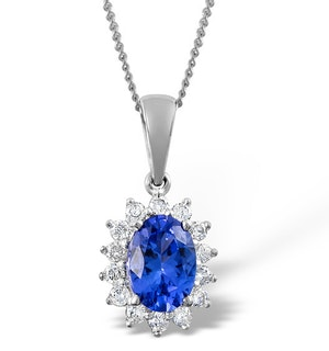 Tanzanite 7 x 5mm And Diamond 18K White Gold Pendant Necklace
