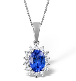 Tanzanite 7 x 5mm And Diamond 9K White Gold Pendant