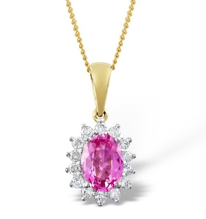 Pink Sapphire 7 X 5mm and Diamond 18K Yellow Gold Pendant