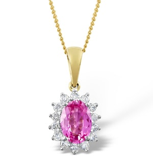 Pink Sapphire 7 X 5mm and Diamond 18K Yellow Gold Pendant Necklace
