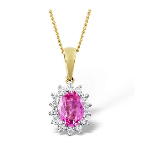 Pink Sapphire 7 X 5mm and Diamond 18K Yellow Gold Pendant Necklace - image 1