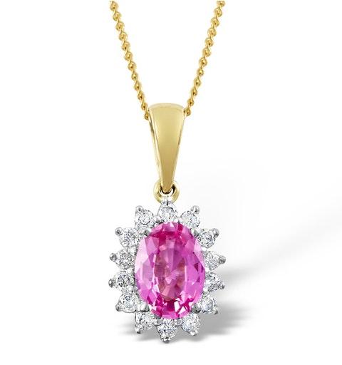 Pink Sapphire 7 X 5mm and Diamond 9K Gold Pendant - image 1