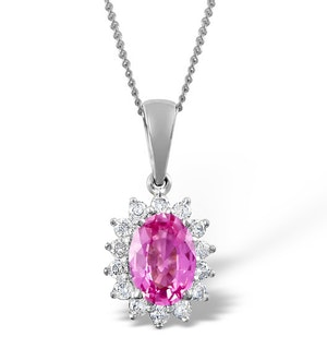 Pink Sapphire 7 X 5mm and Diamond 18K White Gold Pendant Necklace