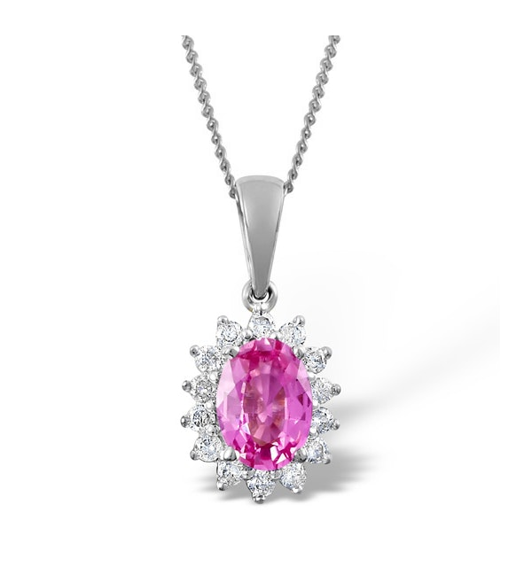 Pink Sapphire 7 X 5mm and Diamond 18K White Gold Pendant Necklace - image 1