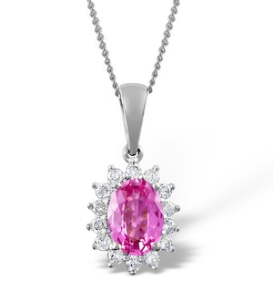 Pink Sapphire 7 X 5mm and Diamond 9K White Gold Pendant Necklace