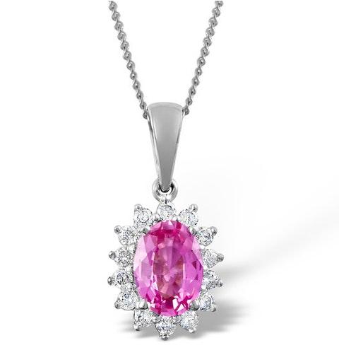 Pink Sapphire 7 X 5mm and Diamond 9K White Gold Pendant - image 1