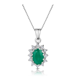 Emerald 0.80CT And Diamond 9K White Gold Pendant Necklace