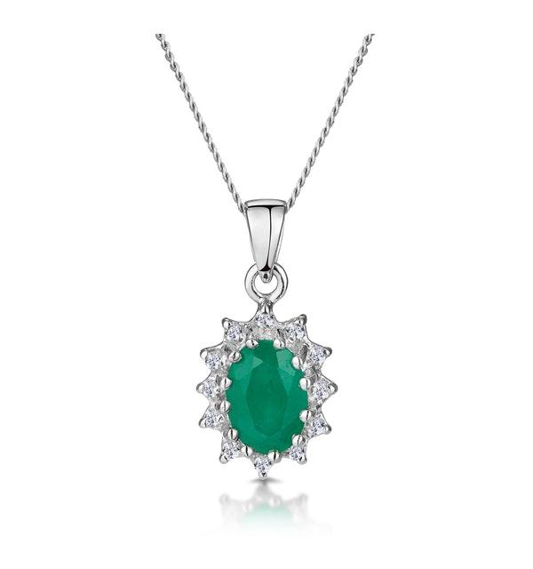 Emerald 0.80CT And Diamond 9K White Gold Pendant Necklace - image 1