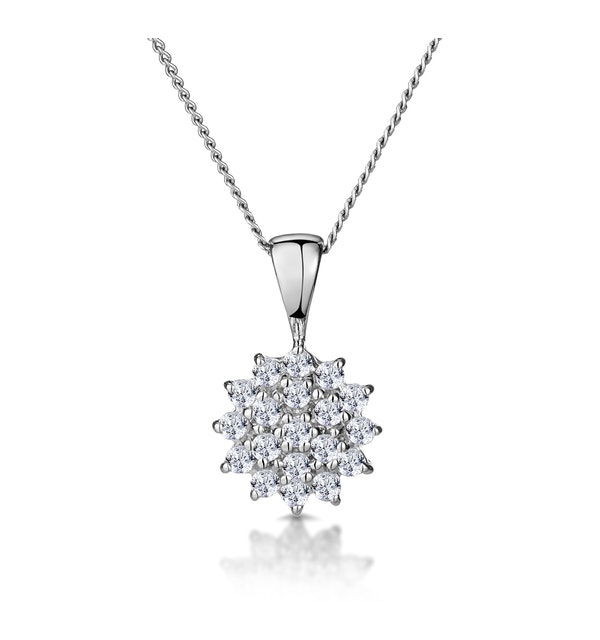 9K White Gold Pendant Necklace With 0.25ct Diamonds - image 1