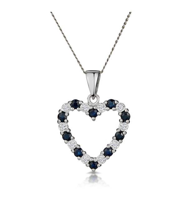 9K White Gold  0.03ct Diamond and Sapphire Heart Pendant Necklace - image 1
