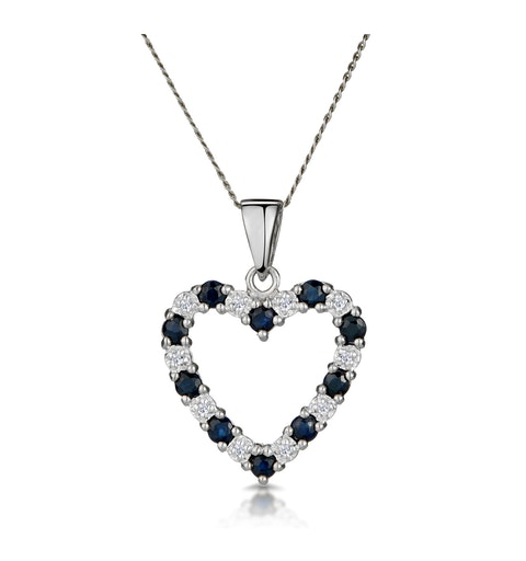 9K White Gold Diamond and Sapphire Pendant 0.03ct - image 1
