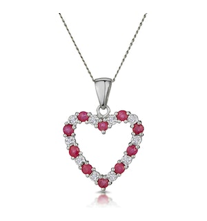 Ruby 0.68CT And Diamond 9K White Gold Heart Pendant Necklace