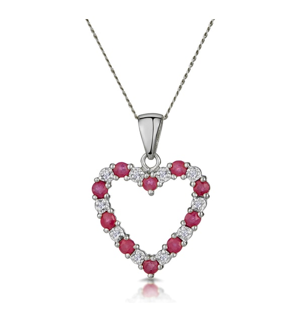 Ruby 0.68CT And Diamond 9K White Gold Heart Pendant Necklace - image 1