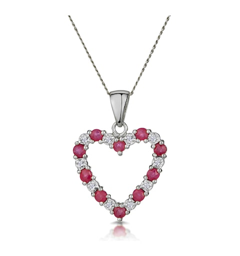 Ruby 0.68CT And Diamond 9K White Gold Pendant - image 1