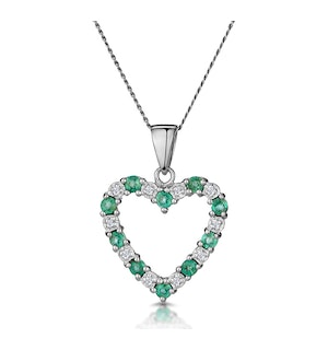 Emerald 0.54CT And Diamond 9K White Gold Pendant
