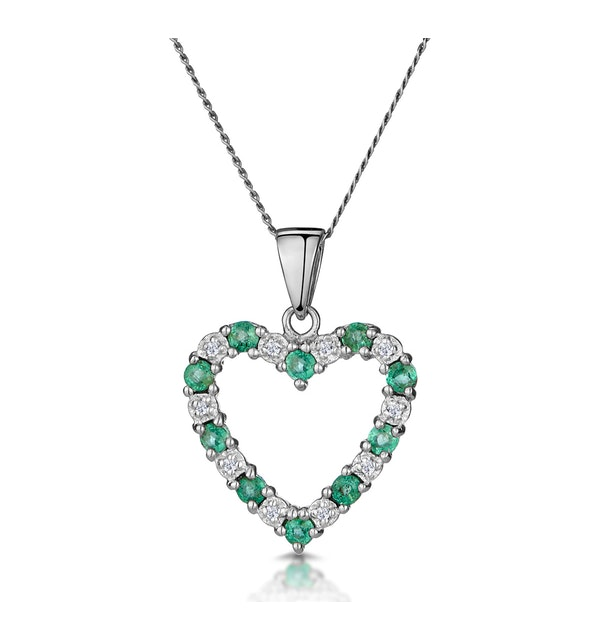 Emerald 0.54CT And Diamond 9K White Gold Heart Pendant Necklace - image 1