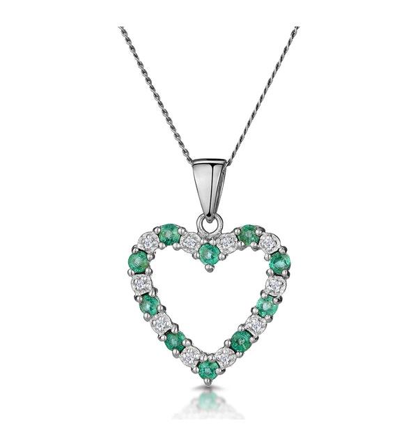 Emerald 0.54CT And Diamond 9K White Gold Pendant - image 1