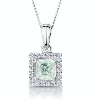 Aquamarine 1.40CT And Diamond 9K White Gold Pendant
