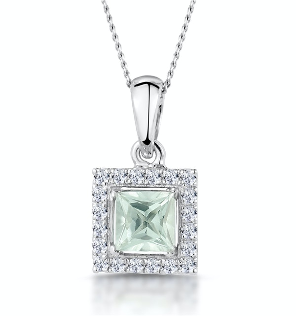 Aquamarine 1.40CT And Diamond 9K White Gold Pendant Necklace - image 1