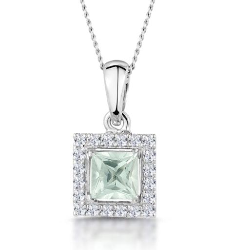 Aquamarine 1.40CT And Diamond 9K White Gold Pendant - image 1